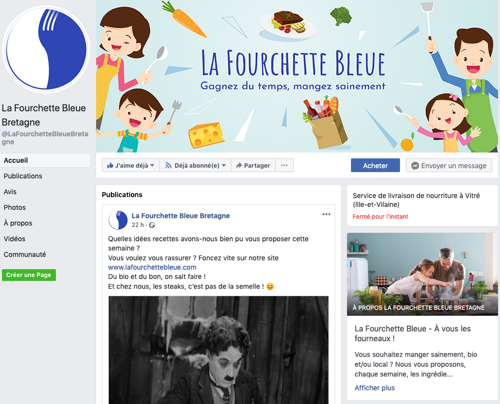 Page Facebook La Fourchette Bleue